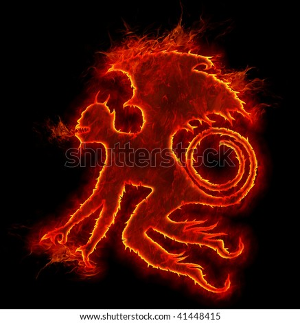 fire devil with wings and tale - stock photo
