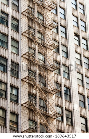 Fire escape on an old building  - stock photo