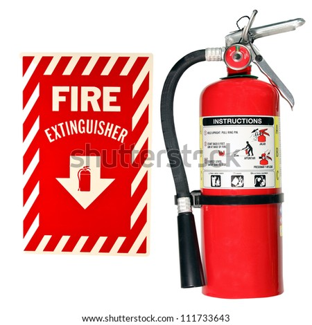 fire extinguisher and sign isolated over a white background - stock photo