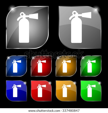 fire extinguisher icon sign. Set of ten colorful buttons with glare. illustration - stock photo