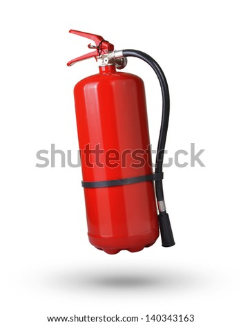 fire extinguisher in the air on white background - stock photo