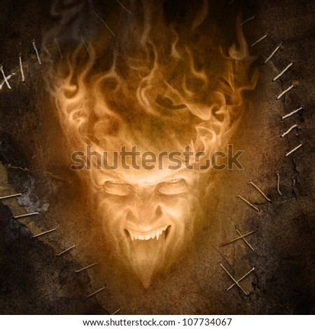 fire face (grunge image) - stock photo