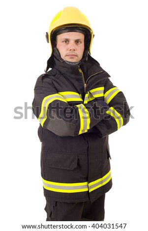 fire fighter isolated on white background - stock photo