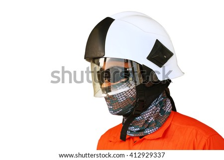 Fire fighter on oil and gas industry, successful firefighter at work , Fire suit for fighter with fire and suit for protect fire fighter, Security team when fire case. - stock photo