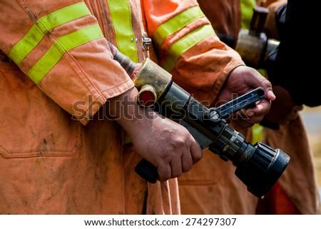 fire fighting practice - stock photo