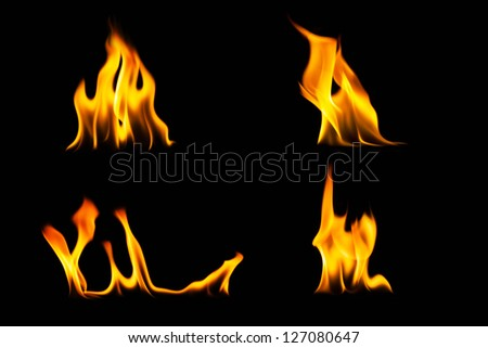 fire flame on dark background - stock photo