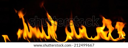 Fire flames abstract on black background  - stock photo