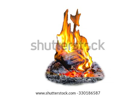 Fire, flames, bonfire isolated against a white background - stock photo