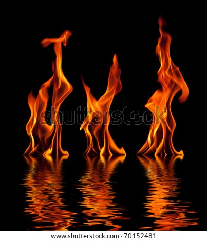 Fire flames. Collage - stock photo