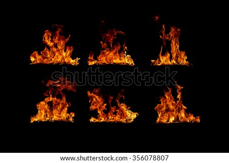 Fire flames collection - stock photo