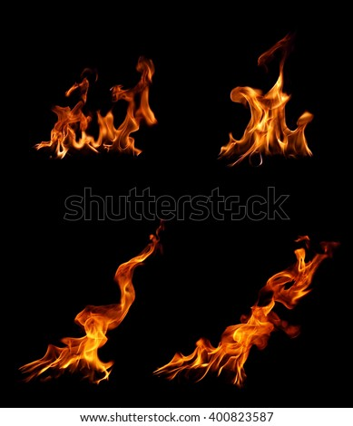 Fire flames collection.  - stock photo