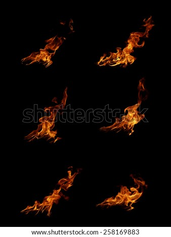 Fire flames collection isolated on black background  - stock photo