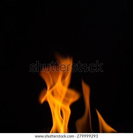 fire flames, isolated on black background - stock photo