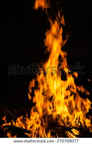 Fire flames on black background - stock photo