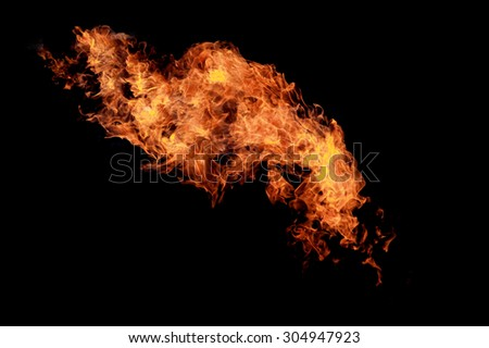 Fire flames over black - stock photo