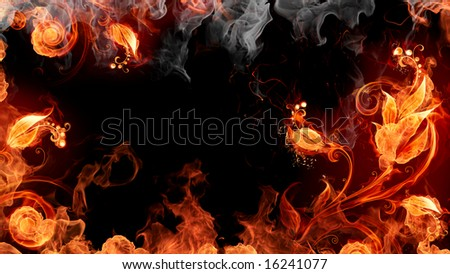 Fire flowers - stock photo
