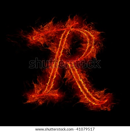 Fire font. Letter R from alphabet - stock photo