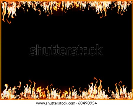 Fire frame border - Highly detailed  illustration with flames - stock photo