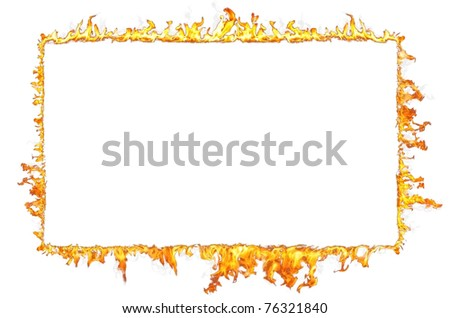 fire frame isolated on white background - stock photo