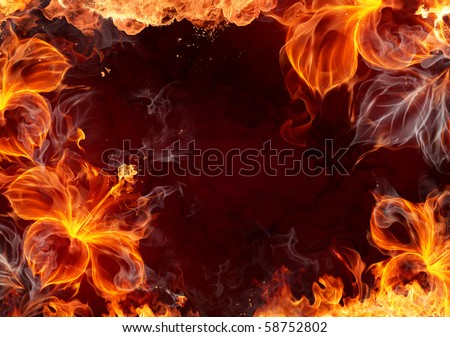 Fire frame with burning flowers - stock photo