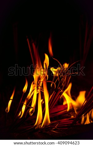Fire from incense - stock photo