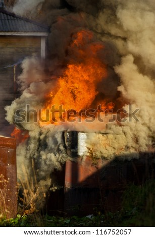 Fire garage. - stock photo