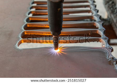 Fire gas cutting steel plate - stock photo