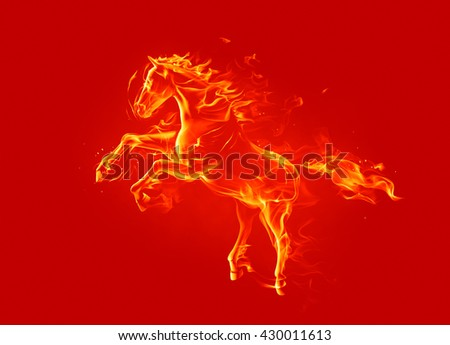 Fire horse. 3d illustration. - stock photo