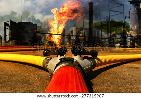 Fire hose connection ,fire fighting equipment for fire fighter. - stock photo