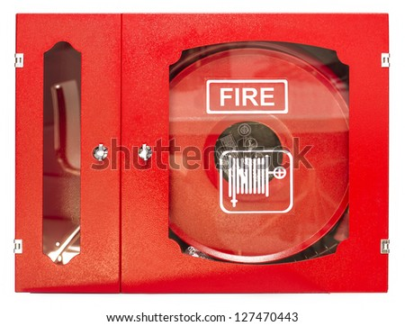Fire Hose Isolated on White Background - stock photo
