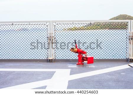 Fire hose on ship - stock photo