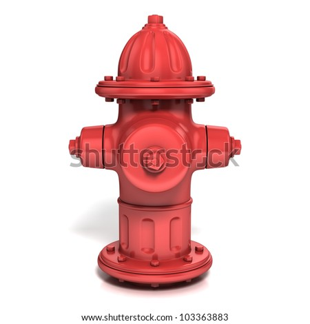 fire hydrant 3d illustration isolated on white - front view - stock photo