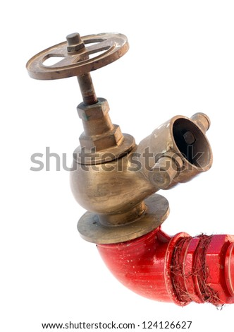 Fire hydrant on red tube with classical valve isolated on white background - stock photo