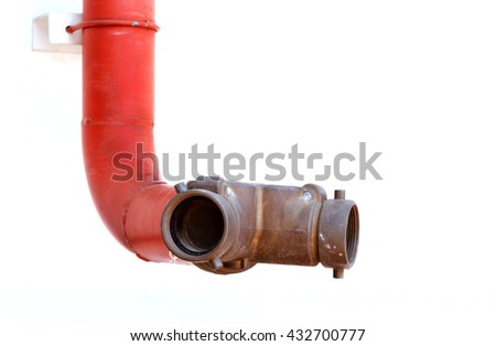Fire Hydrants On The Wall, fire extinguish equipment - stock photo