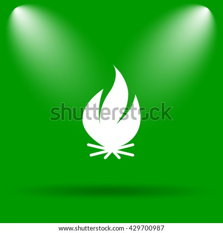 Fire icon. Internet button on green background.
