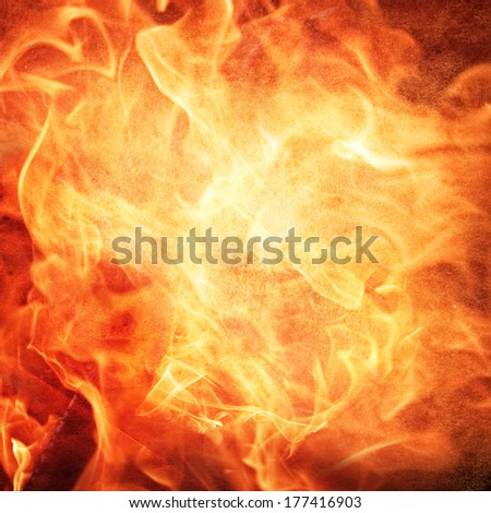 Fire image on an ancient paper - stock photo