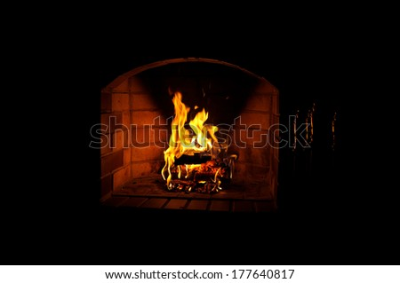 Fire in fireplace - stock photo