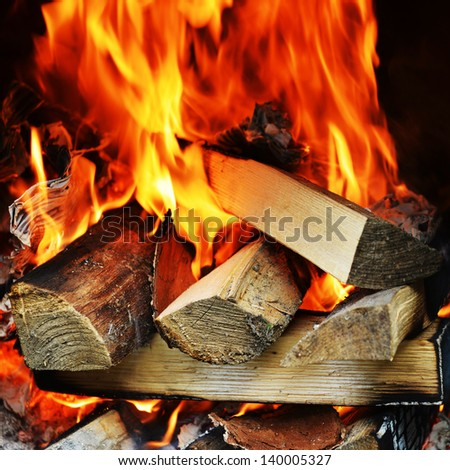 fire in fireplace close up - stock photo