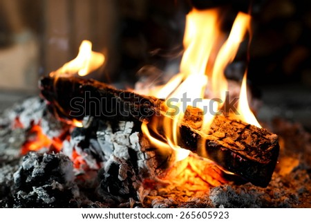 fire in fireplace indoor - stock photo