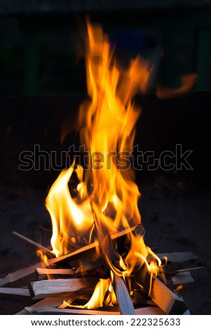 fire in the night - stock photo
