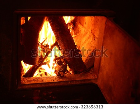 fire in the open fireplace close up photo - stock photo