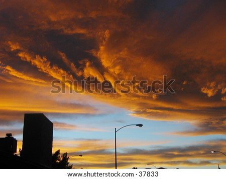 Fire in the sky. - stock photo