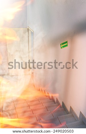 Fire int the building - stock photo