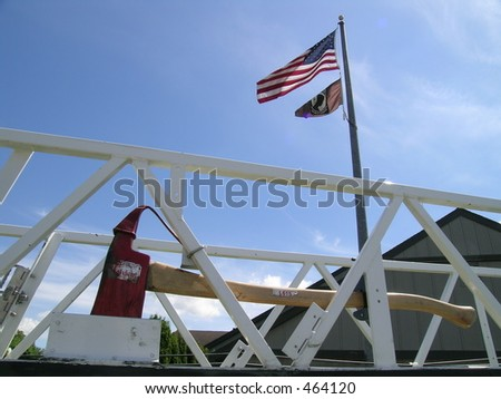 Fire Ladder and Rescue Axe - stock photo