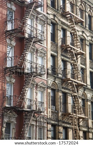 Fire Ladder - Manhattan,downtown,New York City - stock photo