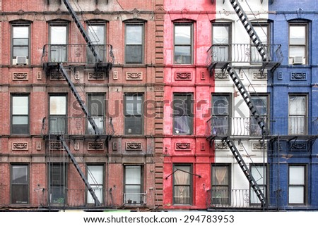 Fire ladder on New york manhattan buildings - stock photo