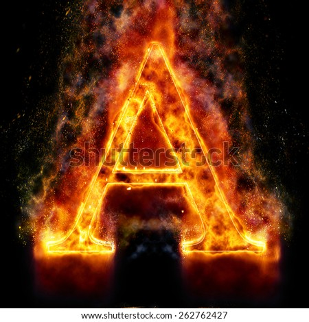 Fire Letter A - stock photo