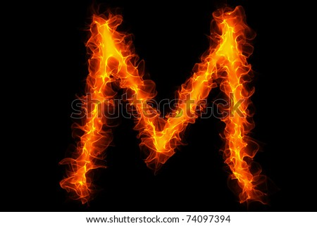 Fire letter m graffiti - stock photo