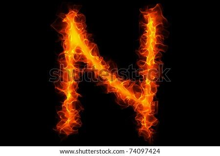 Fire letter n graffiti - stock photo