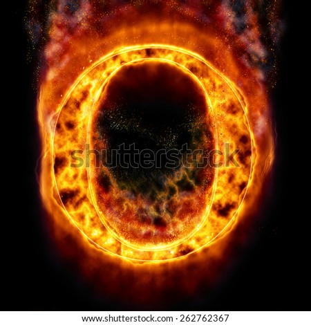 Fire Letter O - stock photo